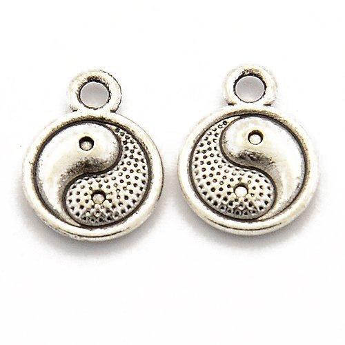 Paquet 8 x Argent Antique Tibétain 10mm Breloques Pendentif (Yin Yang) - (ZX09825) - Charming Beads