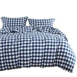 Wake In Cloud - Washed Cotton Duvet Cover Set, Buffalo Check Gingham Plaid Geometric Checker Pattern Printed in Navy Blue and White, 100% Cotton Bedding, with Zipper Closure (3pcs, King Size)