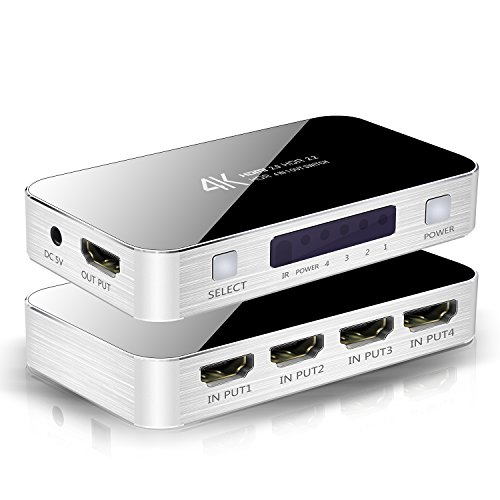 Kramer Wall Plate Insert (4x1 HDMI Switch 2.0 4 in 1 HDMI Switcher 4K 4 Port Ultra HD 4Kx2K@60Hz HDCP 2.2 HDMI Switcher Box with IR Remote [Support Full HD 3D 1080p] for Macbook PS3/4 Blue-ray DVD/ Fire TV/ Wii/ PSP Etc)