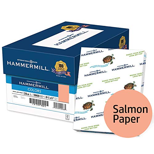 Hammermill Colored Paper, Salmon Printer Paper, 20lb, 8.5x11 Paper, Letter Size, 5000 Sheets / 10 Ream Case, Pastel Paper, Colorful Paper -