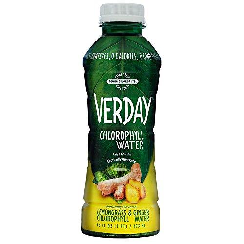 Verday Chlorophyll Water, Lemongrass Ginger, Paleo, Vegan, Non-GMO, Gluten-Free, No Preservatives, No Diet Sweeteners, Zero Calories, 16oz (Pack of 12)