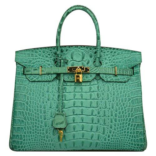 Shoe Bag Leather Embossed (Ainifeel Women's Crocodile Embossed Office Handbag Top Handle Handbag (30 cm, Diamond Green))