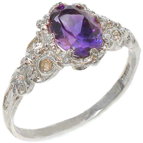 925 Sterling Silver Real Genuine Amethyst Womens Solitaire Engagement Ring - Size 6