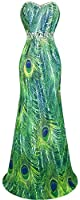 Angel-fashions Women's Chiffon Strapless Rhinestone Peacock Painting Prom Dresses
