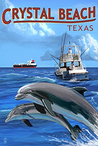 Crystal Beach, Texas - Fishing Boat with Freighter and Dolphins (9x12 Art Print, Wall Decor Travel Poster)