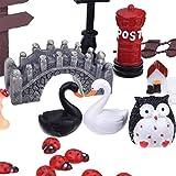 eBoot 89 Pieces Miniature Ornaments Kit Set with 1 Piece Tweezer for DIY Fairy Garden Dollhouse Decoration
