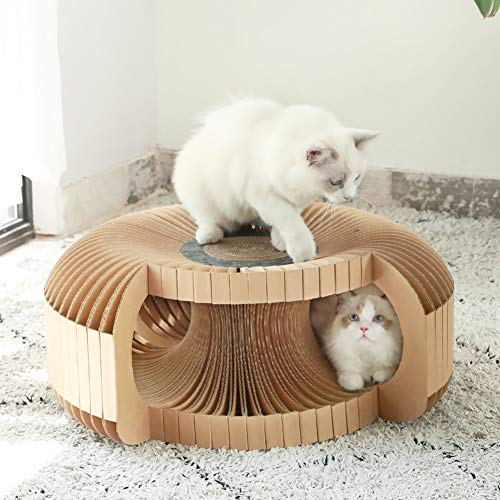 Cat Tunnel Cardboard Cat House Pet Beds Cat Tunnels Cave Houses Cat Scratcher DIY Interactive Cat Toy for Indoor Cats and Kittens (L, Brown)