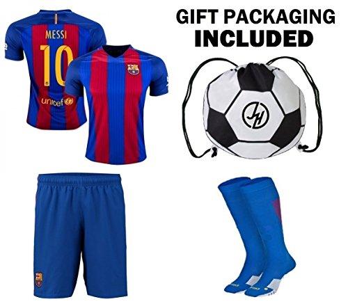 buy online dbbea 5fbf4 JerzeHero Barcelona Messi #10 / Neymar Jr #11 Youth Kids Soccer Jersey 4 in  1 Gift Set ✓ Soccer Jersey ✓ Shorts ✓ Socks ✓ Drawstring Bag ✓ ...