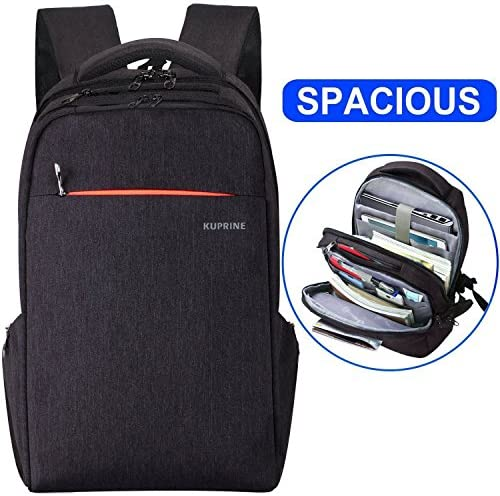 KUPRINE Lightweight Travel Business Laptop Backpack for Women Men, Water Resistant Anti Theft Slim Computer Backpacks Up To 15.6 Inch Laptops Black