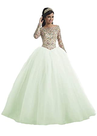 b706ea0c311 IVYPRECIOUS Luxurious Quinceanera Dresses Long Sleeve Lace Beading Ball  Gown Prom Dress for Girl Size 2