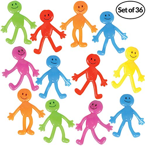 Stretchy Smiley Man (36 Pack) Assorted Fun Colors, A Sticky, Bendable, Stretchable, Slimy, Gooey Texture, Fidget Toy For Stress And Anxiety Relief, Great Party -