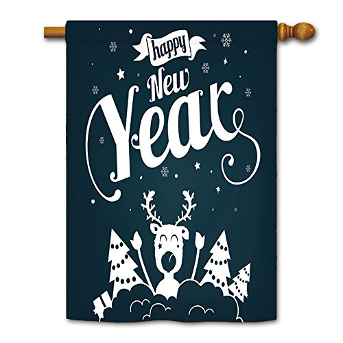 KafePross Happy New Year with Deer and Christmas Tree House Flag (New Years Part)