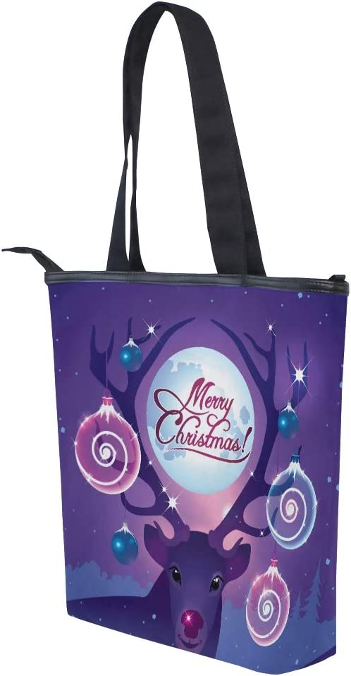 Lilac Christmas Deer With Balls Canvas Tote Bag,Fashion Large Capacity Handbag for Women Travel