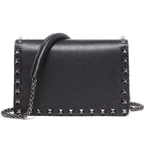 Mefly La primera capa de cuero tachonado bolso de cuero Bolso Bolsa Bolsa Crossbody cadena Sky Blue black