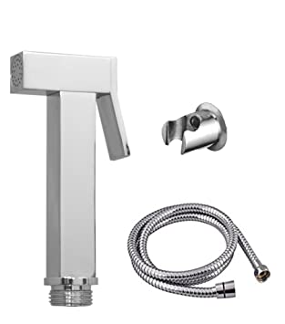 Prestige Square Brass Health Faucet with 1.5mtr Flexible SS Tube and Wall Hook