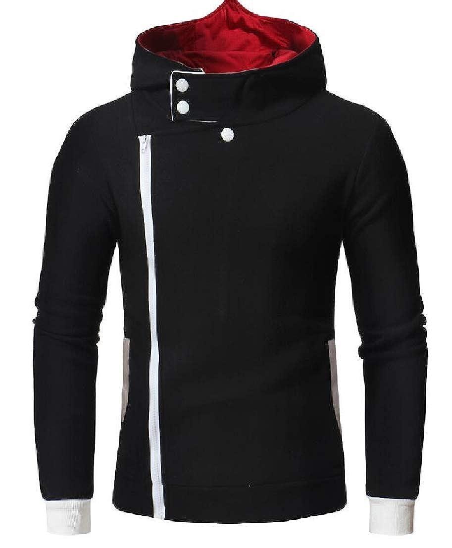 UUYUK Men Stylish Back Print Hooded Oblique Zipper Sweatshirt Jacket