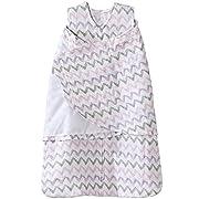 Halo 100% Cotton Muslin Sleepsack Swaddle Wearable Blanket, Pink Chevron, Small