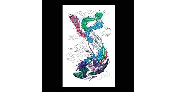 Etiqueta engomada del tatuaje color fuego fénix pluma flor brazo ...
