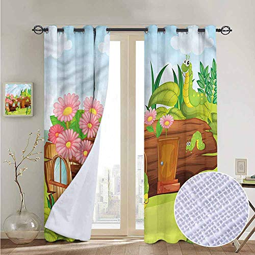 NUOMANAN Blackout Curtain Panels Window Draperies Kids,Worms in Wooden Tree,for Bedroom, Kitchen, Living Room - Design Terra Worm Cotta