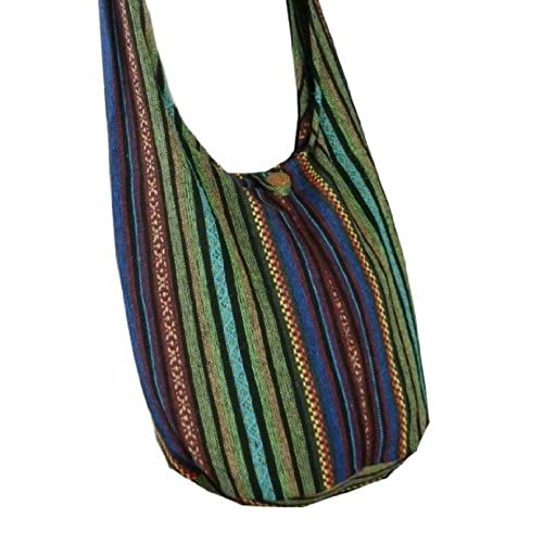9d483095f404 Thai Cotton Sling Bag Purse Crossbody Messenger Hippie Hobo Hand Woven