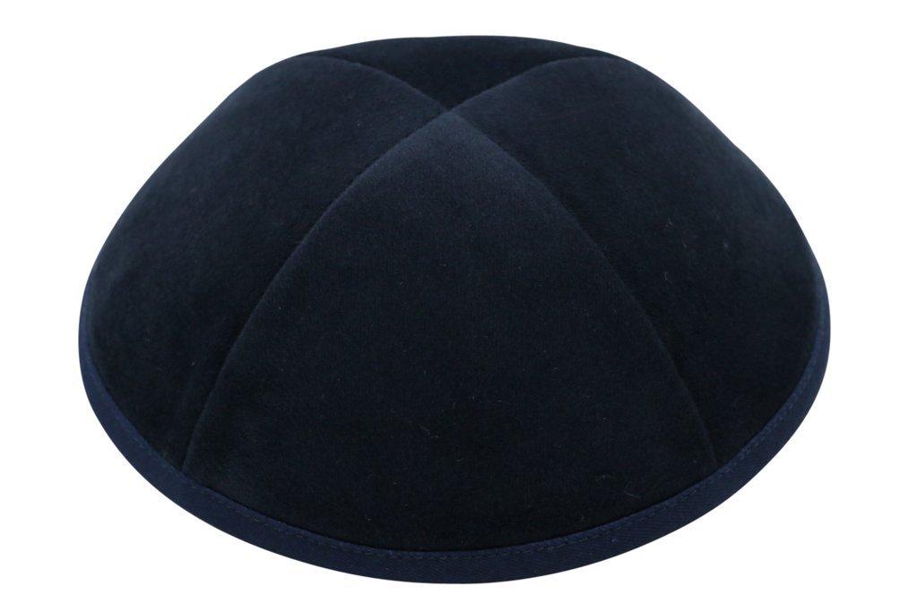 iKippah Navy Velvet 4 Part Yarmulkah for Boys (Size 4)