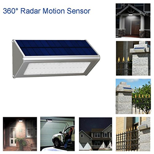 Solar Light, Hatop 800 Lumens Solar Light 48 LED Radar Induction Solar Lights Outdoor Waterproof