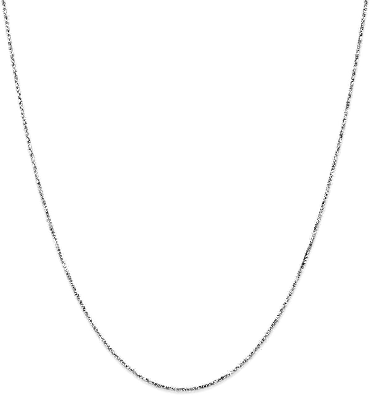 Lex /& Lu 10k White Gold 1mm Spiga Pendant Chain Necklace