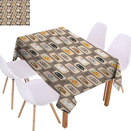 - Easy Care Tablecloth Cat Patchwork Inspired Pattern Adorable Kitty Faces Silly Expressions Footprints Stripes and Durable W50 xL80 Multicolor