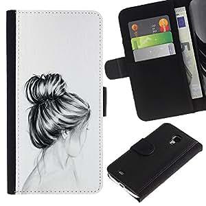A-type (Bust Hair Head Pencil Drawing Sad) Colorida Impresión Funda Cuero Monedero Caja Bolsa Cubierta Caja Piel Card Slots Para Samsung Galaxy S4 Mini i9190 (NOT S4)