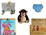 Children's Gift Bundle - Ages 0-2 [5 Piece] Includes: PhotoStudio Footloose Baby Booties Photo Frame 4'' x 6'', Circo Infant Reusable Swim Diaper Blue Size L 18 Months 22-25 lbs, Ganz Adorable Chimpan