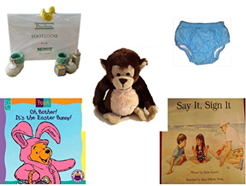 Children's Gift Bundle - Ages 0-2 [5 Piece] Includes: PhotoStudio Footloose Baby Booties Photo Frame 4'' x 6'', Circo Infant Reusable Swim Diaper Blue Size L 18 Months 22-25 lbs, Ganz Adorable Chimpan by Secure-Order-Marketplace Gift Bundles