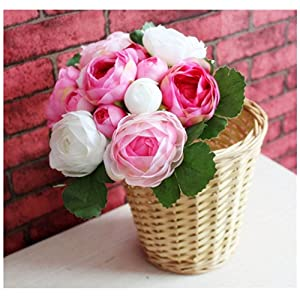 mywaxberry 13 Pieces Simulation Artificial Flowers Camellias Roses(not Including The Basket) 100
