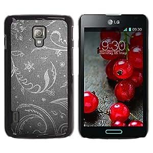 Be Good Phone Accessory // Dura Cáscara cubierta Protectora Caso Carcasa Funda de Protección para LG Optimus L7 II P710 / L7X P714 // Floral Wallpaper Grey Gray Silver Retro Vintage