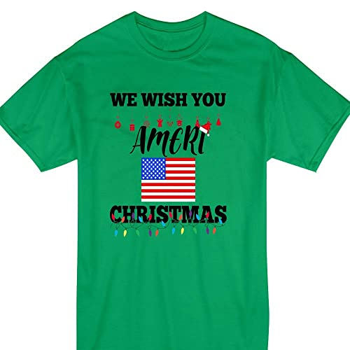 4d15fa5d5 Christmas Lights We-Wish-You Ameri Christmas American-USA-Flag Pajamas  T-shirt Customized Handmade Hoodie/Sweater / Long Sleeve/Tank Top/Premium  T-shirt