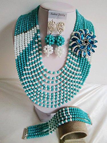 laanc 10filas nueva temporada popular Jewelry Pavo Real Verde y blanco boda de Nigeria África perlas perlas de cristal de joyas A000232