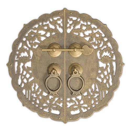 (CBH Brass China Flower Pot Cabinet Face Plate Backplate Hardware Set 9-3/4