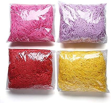 400 G Caja De Regalo Decorativo Papel Destrozado Cesta Lafite Caja De Regalo Llena De Papel De Seda De Embalaje Caja De Regalo De Relleno (Rosa Púrpura Rojo Amarillo): Amazon.es: Electrónica