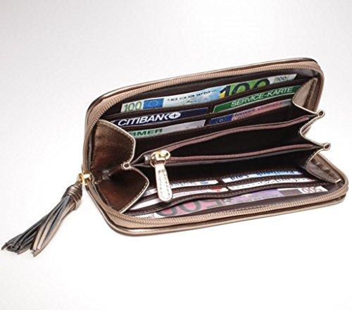 Platine jOSYBAG nLG-porte-monnaie en cuir tressé à la main porte-monnaie portefeuille de bain gris argenté