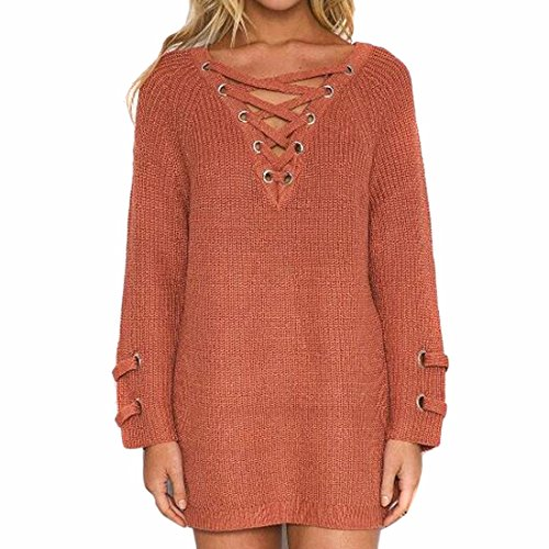 QIYUN.ZA Medio-Largo Del Cordón V Suéter De Cuello Del Suéter De Las Mujeres Bagy Brick Red