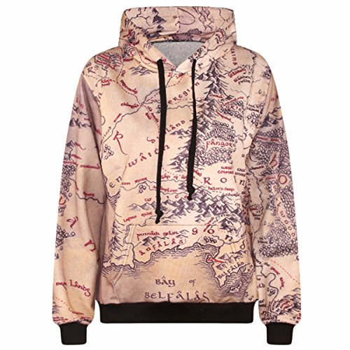 Samtree Digital Print Sweatshirts for Women Funny Galaxy Hoodie Pullover Sweater  Map  Asia L XL fit US S -