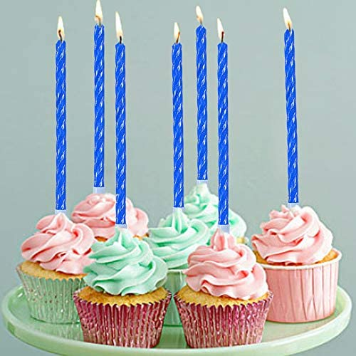 Blue Tall Spiral Bday Candles for Cake Decoration 27 Pcs Long Thin Birthday Cake Candles in Holders for Party Wedding Cupcake Decoration Happy Fancy Blue Candles for Kids 27th