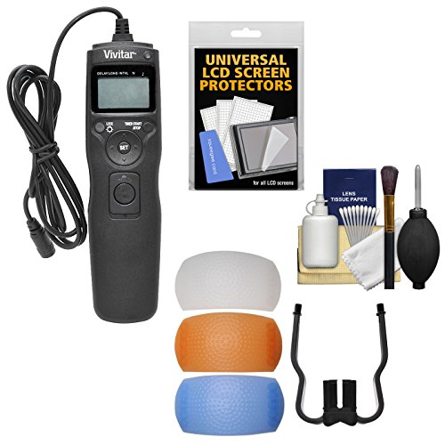(Vivitar Universal LCD Digital Timer Shutter Release Remote Control with 3 Pop-Up Flash Diffusers + Kit for Canon, Nikon, Sony & Olympus)