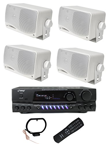 4) PYLE PLMR24 200W Outdoor Speakers + PT260A 200W Stereo Theater Receiver (Patio Stereo)