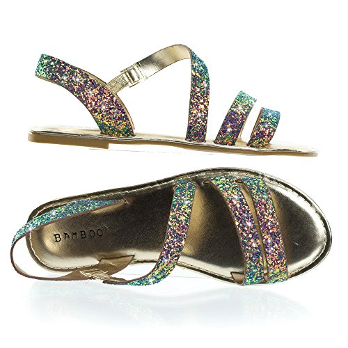 Blue Rock Green Glitter Cage Slip On Flat In Strappy Sandal nR18wWqA4