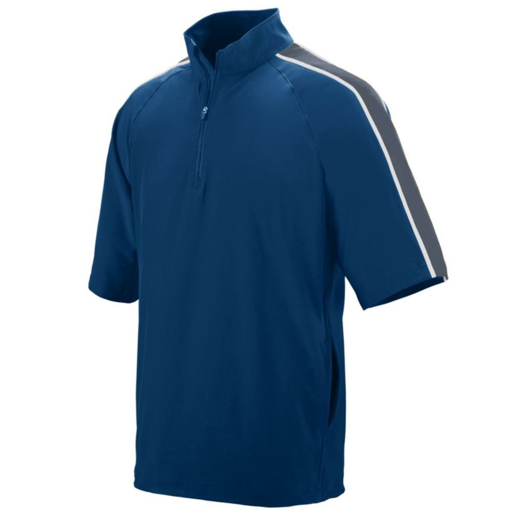Augusta Activewear Youth Quantum Short Sleeve Pullover, Navy/Graphite/White, Small
