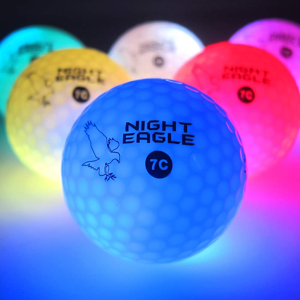 Night Eagle Light Up LED Golf Balls - 6 Ball Pack (8 Mode Multi-Color) by Night Eagle