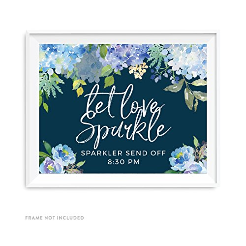 (Andaz Press Navy Blue Hydrangea Floral Garden Party Wedding Collection, Personalized Party Signs, Let Love Sparkle, Sparkler Send Off, 8.5x11-inch, 1-Pack, Custom Made Any Time)