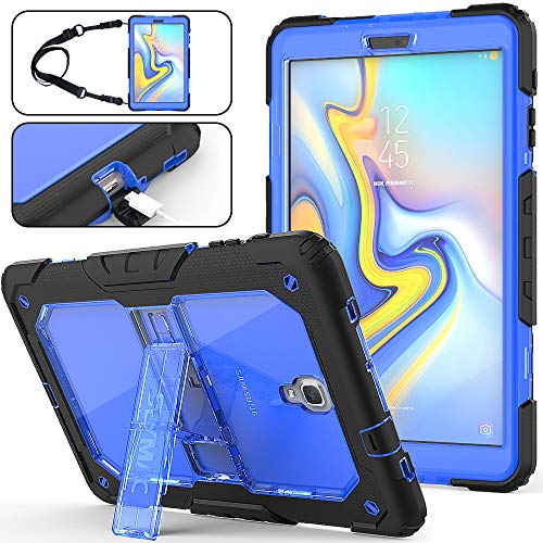Galaxy Tab A 10.5 Case ONLY for T590/ T595/ T597, Full-Body [Heavy Duty] & [Shock Proof] Hybrid Armor Protective Case with Kickstand & Portable Shoulder Strap for Samsung Tab A 10.5 Inch (Blue+Black)