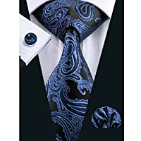 Hi-Tie Mens Blue Jacquard Woven Silk Tie Necktie Hanky Cufflinks set