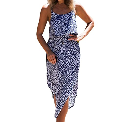 imprimes Longue Bohme robe Plage vacances GreatestPAK de Drawstring Robes t Ruffle Bleu Strappy soire Women HdwWq7g